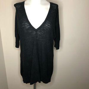 Eileen Fisher V-neck Dark Blue Knit 3/4 Sleeve